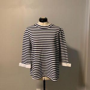 Halogen/Nordstrom nautical stripe top w/ tie cuffs